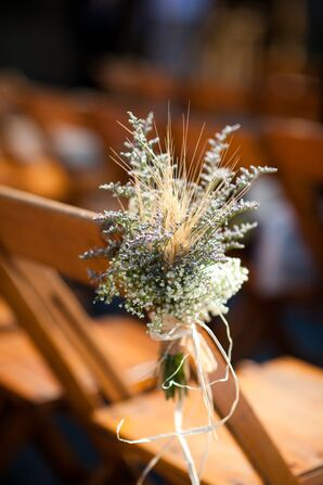 DIY Dried Wheat Grass Aisle Marker