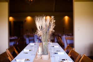 DIY Dried Wheat Grass Reception Centerpieces