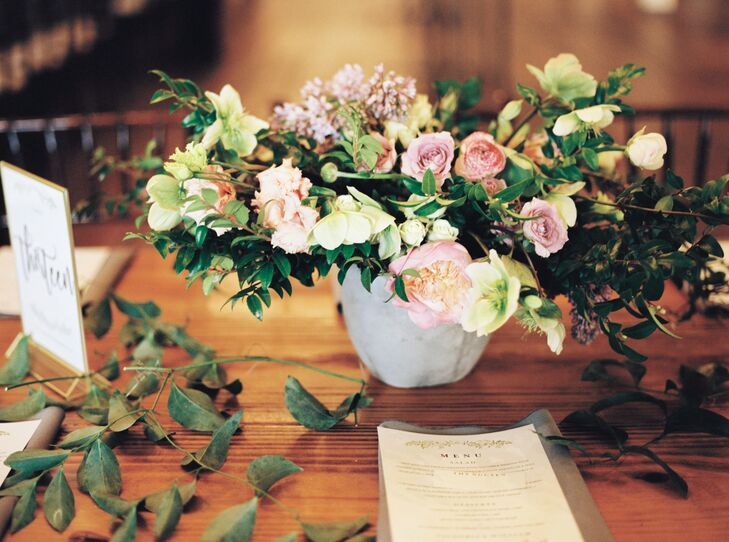 Loosely Arranged Garden Rose and Lilac Centerpiece