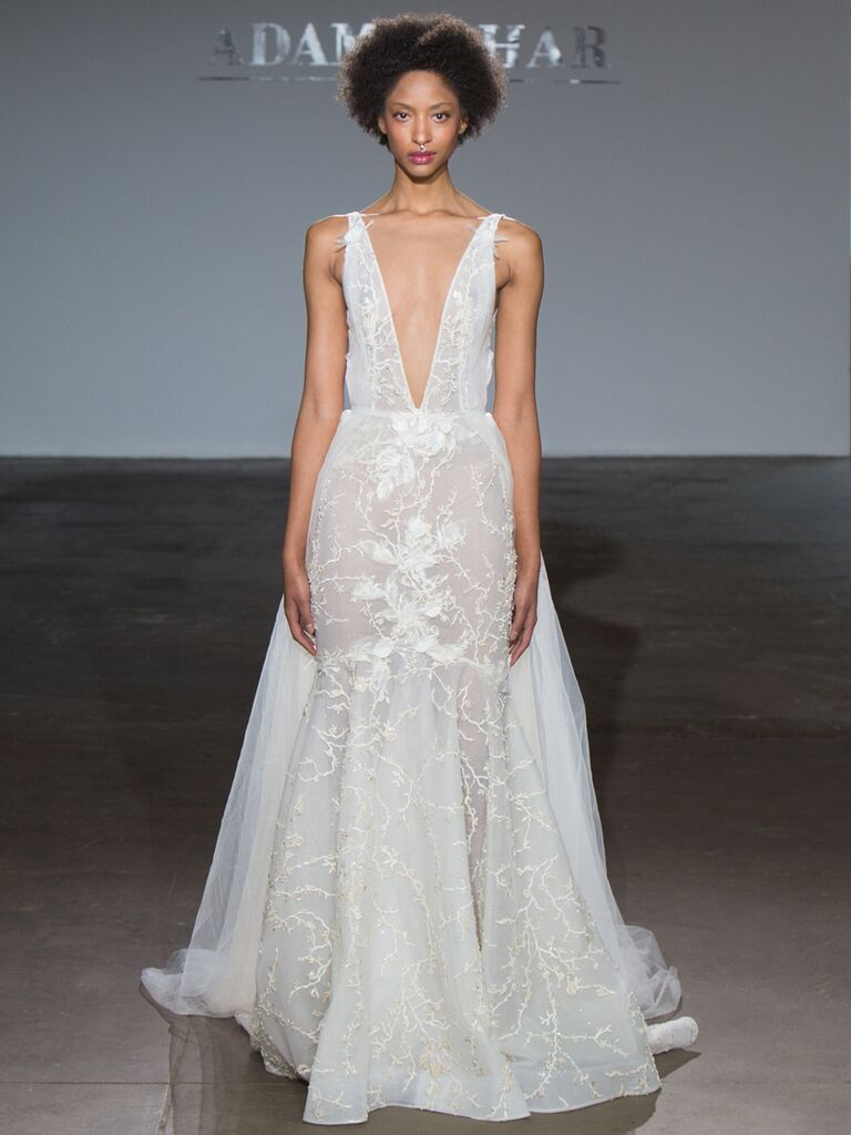 Adam Zohar Spring 2019 Collection sheer mermaid wedding dress with plunging V-neck and long train
