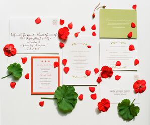 Red, White and Green Vintage Invitation Suite by Minted