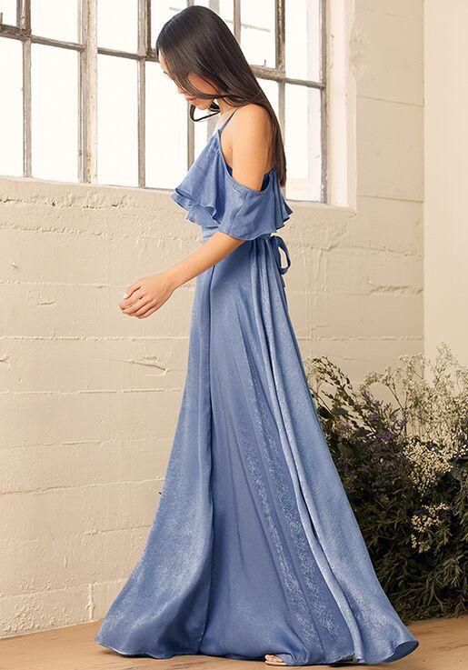 Lulus Moriah Vintage Blue Satin Wrap Maxi Dress V-Neck Bridesmaid Dress