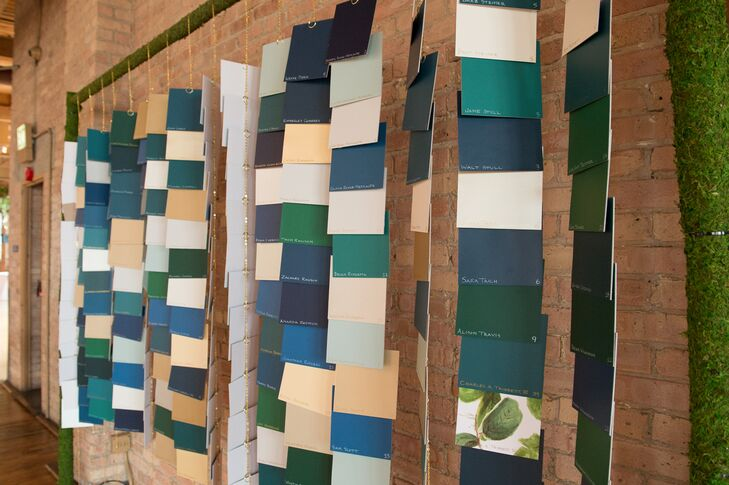 Escort Card Wall Made of Paint Swatches