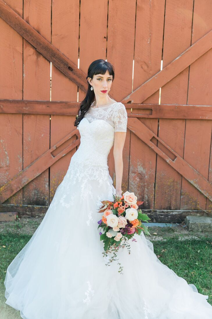 The bride found her Kitty Chen wedding dress in a boutique before buying it used from a woman living only an hour away.
