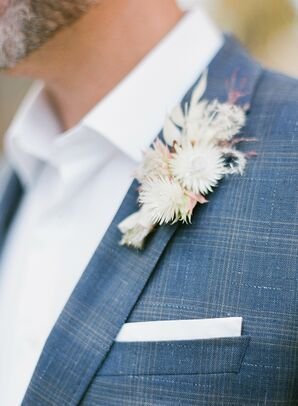 Rustic Boutonniere with Dried White Flowers