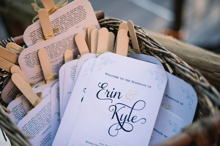 The couple's programs were actually fans (though they weren't necessary—their wedding weather was perfect). On the back, Erin and Kyle included fun facts about themselves.