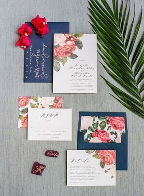 Custom Invitation Suite with Botanical Illustration and Blue Envelope