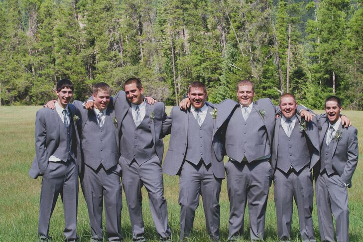647eb5701a90 Jim's Formal Wear Gray Three-Piece Groomsmen Suits