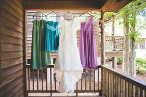 Mismatched Summery Bridesmaids Dresses at Garden Wedding