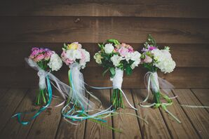 Whimsical Summer Bouquets with Long Ribbon Ties