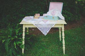 Vintage Pastel Card Table at Garden Wedding