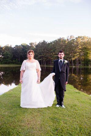 Mon Cheri Lace Wedding Dress with Side Bead Adornment