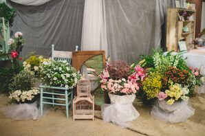Whimsical Miscellaneous Vintage Floral Arrangement Display