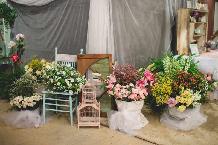 Whimsical Miscellaneous Vintage Floral Arrangement Display
