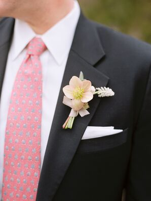 Black Burberry Suit With Pink Tie