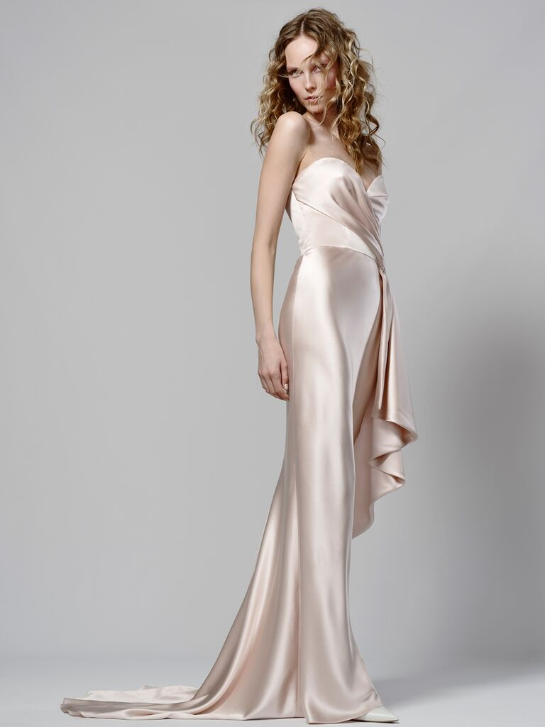 Elizabeth Fillmore Spring 2019 strapless draped champagne-hued wedding dress