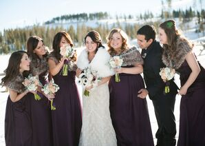 Plum Bridesmaid Dresses and Faux Fur Stoles