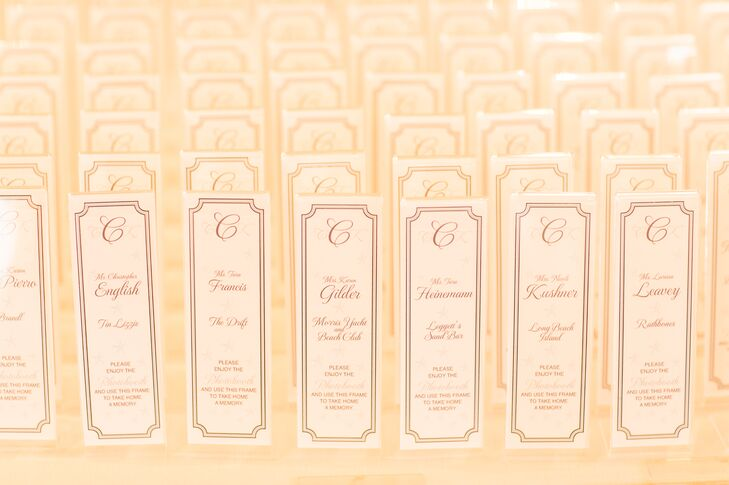 Tall Vertical Monogrammed Escort Cards