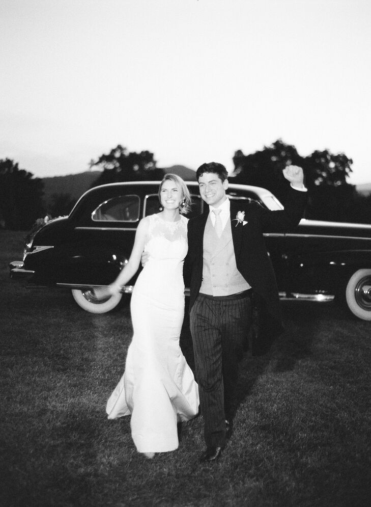 The couple arrived at the reception in a vintage ride.