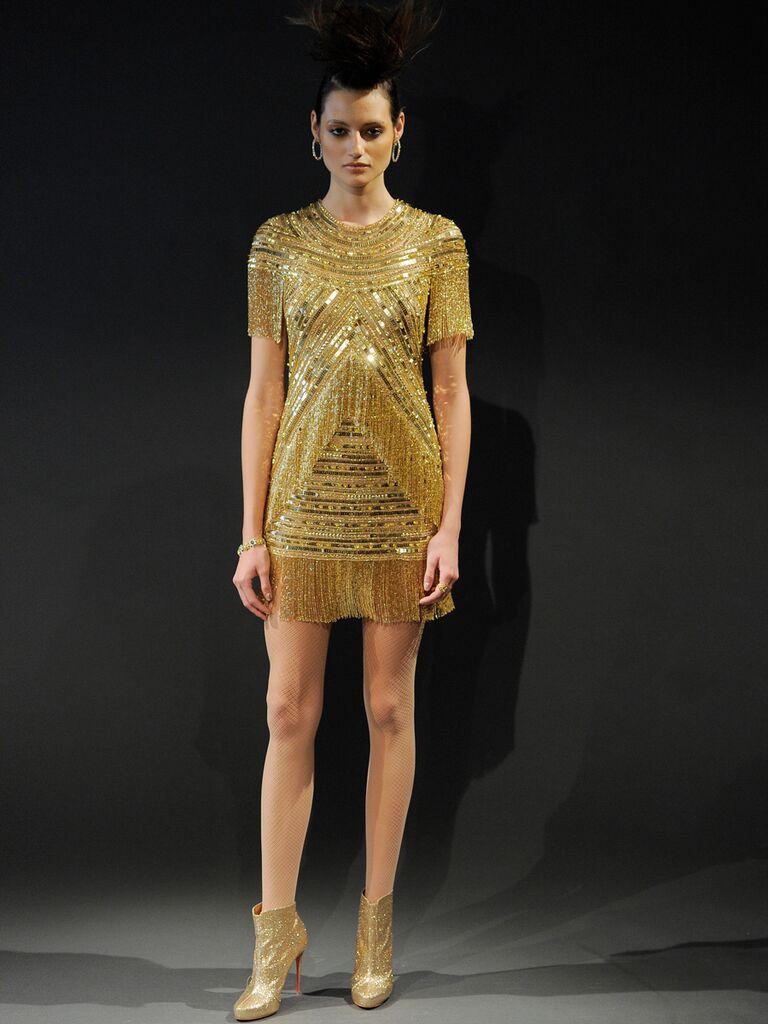 Naeem Khan Spring 2019 Collection Short Sleeve Gold Fringe Party Dress