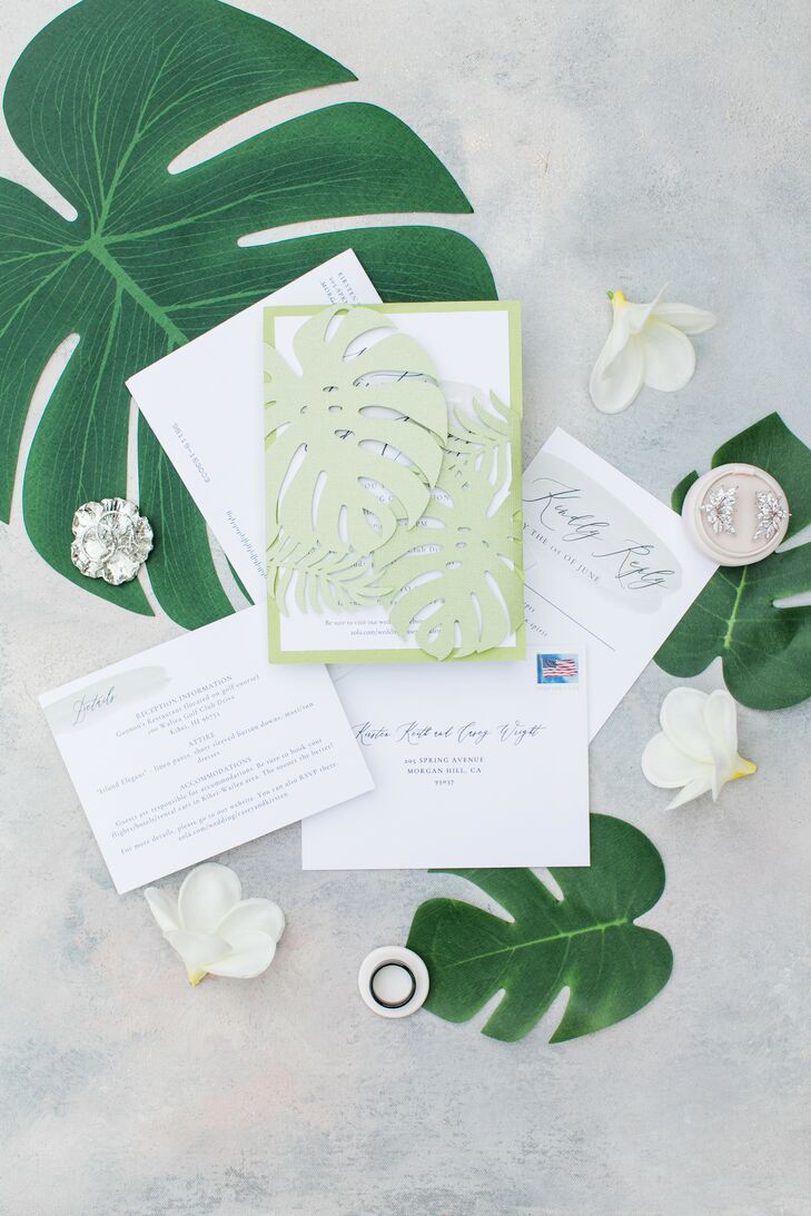 Tropical Wedding Invitation with Monstera Leaf Details