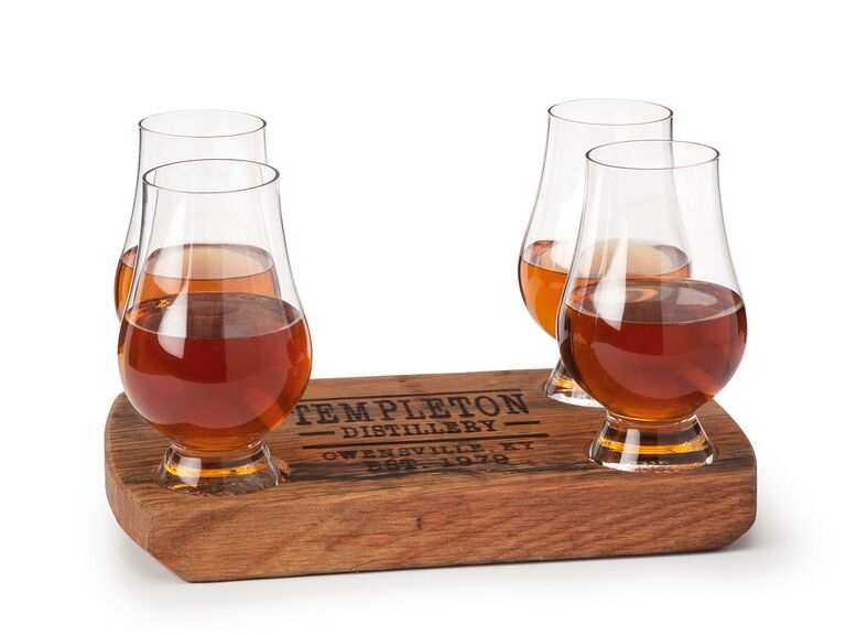 Wooden personalized whiskey flight with Glencairn glasses
