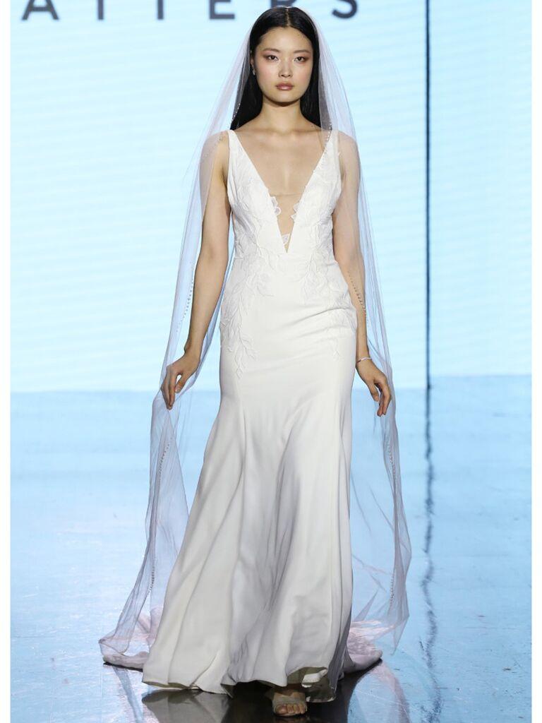 Watters wedding dress illusion plunge trumpet gown