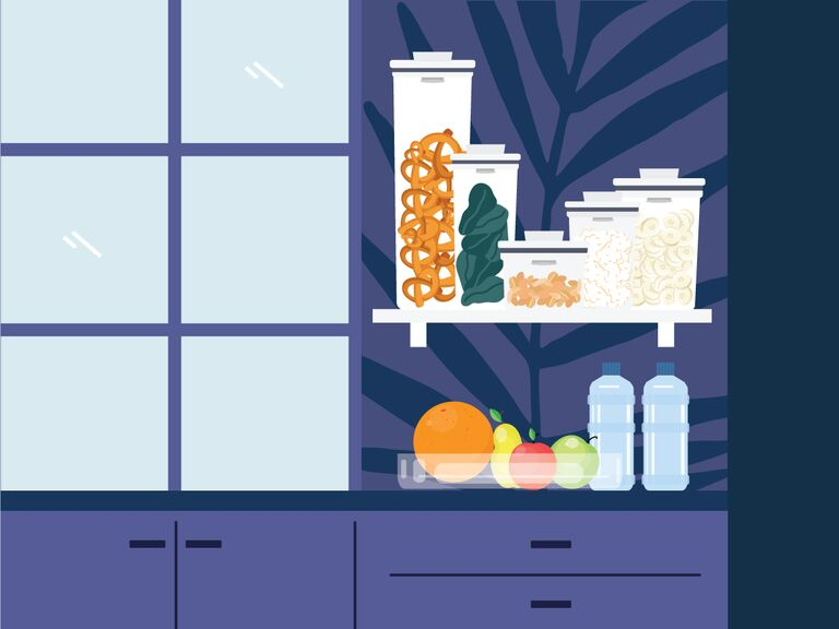 illustrated purple kitchen with open shelving with snacks in clear storage containers