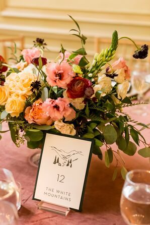 Pink Reception Centerpieces at The Meridian House in Washington, D.C.