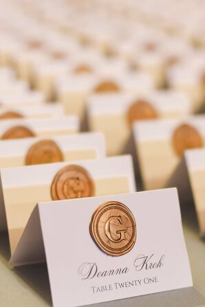 Formal Escort Cards with Gold Wax Seal