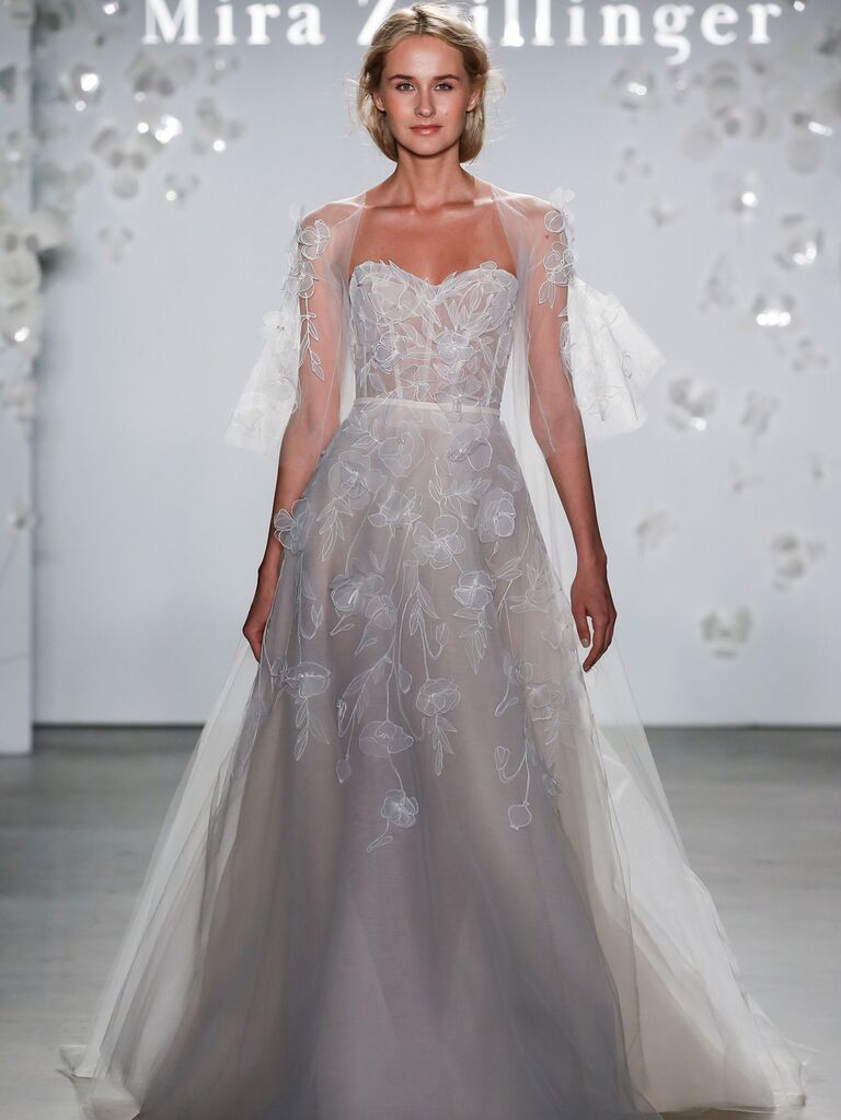 Mira Zwillinger Spring 2020 Bridal Collection romantic wedding dress with tulle sleeves