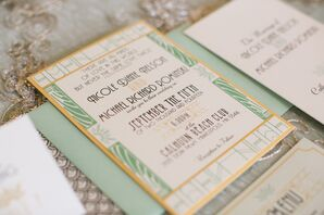 Mint and Gold Art Deco Wedding Invitations