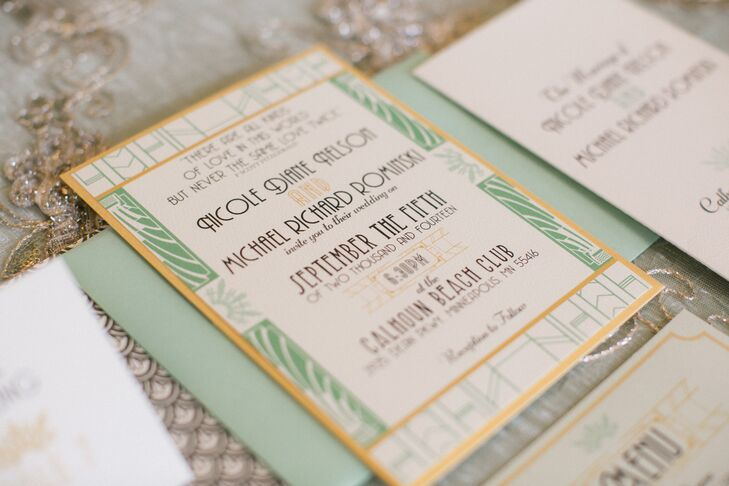 To give guests a sneak peek at what was to come, Nicole and Mike opted for Art Deco wedding invitations in their color palette of mint and gold.