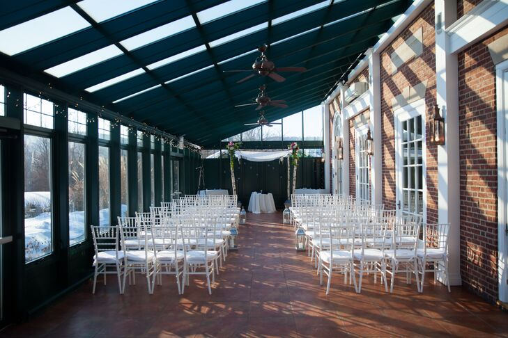 The couple exchanged vows in an intimate ceremony in the Highlands Country Club's enclosed glass Solarium, which overlooked the gold course's 10th hole, purposefully chosen as a nod to their 10 years of being together.