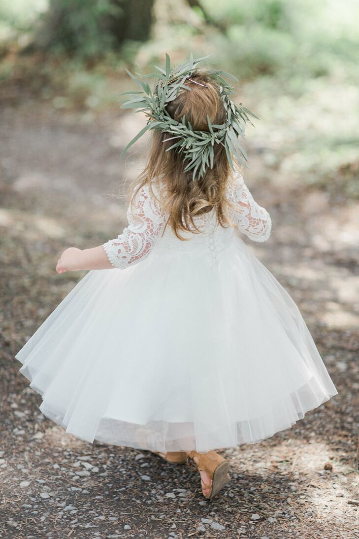 Flower Girl Wearing Eucalyptus Crown