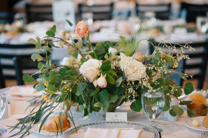 Centerpieces at the reception were either aspen leaf garlands or softly gathered peony and rose arrangements.