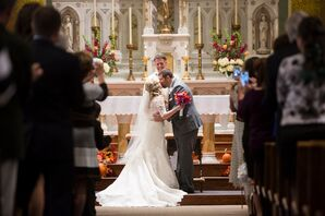 Catholic Wedding Ceremony First Kiss