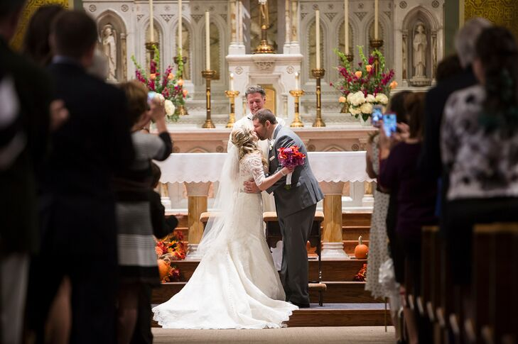 Catholic Wedding Ceremony First Kiss