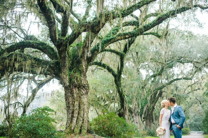 Juliette and Travis didn't have time to plan a giant wedding, so they started thinking about their dream ceremony spot where they could elope. Travis immediately remembered the picturesque city of Charleston, South Carolina, which they'd visited the year before. With its Spanish-moss-draped oak trees, historic architecture, welcoming hospitality and incredible food, they knew it was the place for them to exchange vows.