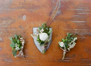 Green and White Boutonniere With Ranunculus