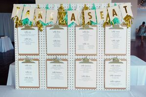 Modern Seating Chart Display with Gold Tassels and Signage