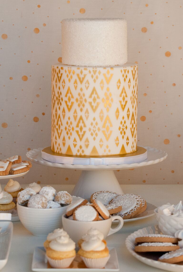 metallic gold ikat bridal shower cake