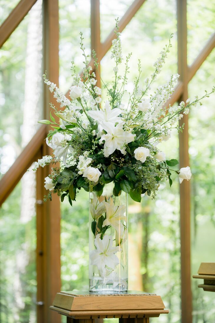 Lush White Lily and Eucalyptus Alter Decor