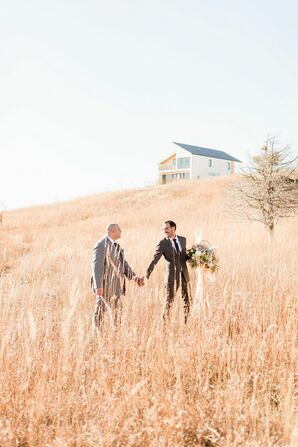 Same-Sex Couple Portraits in Field at Blue Vista in Randolph, Kansas