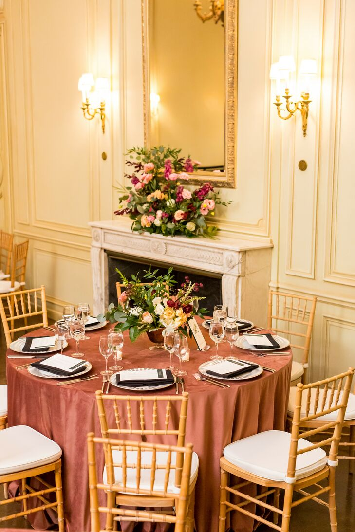 Dusty Rose Linens on Reception Table at The Meridian House in Washington, D.C.