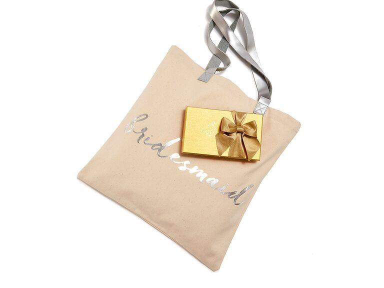 Godiva tote bag bridesmaid proposal gift