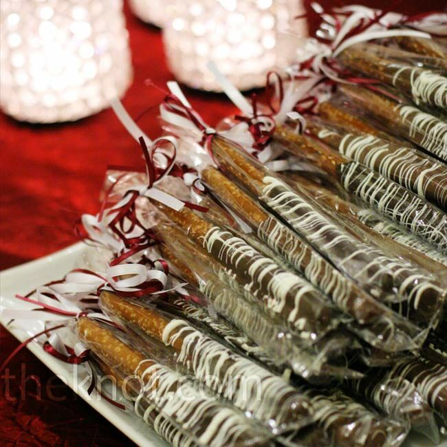 As guests left the reception, they could take small bottles of water and hand-dipped, chocolate-covered pretzels.