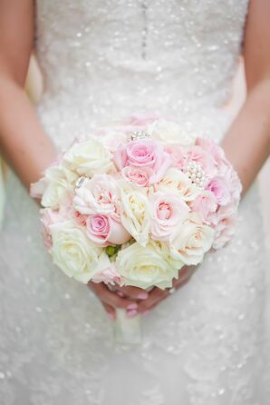 Blush and Ivory Rose, Crystal Bridal Bouquet