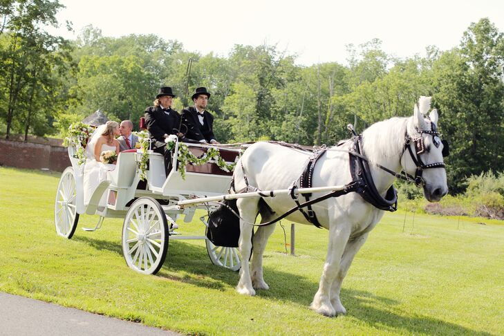 Kathleen and Kenny had a grand ceremony exit—in a horse and carriage. Kathleen has a love for horses, and this grand gesture showcased the couple's fun-loving spirits.