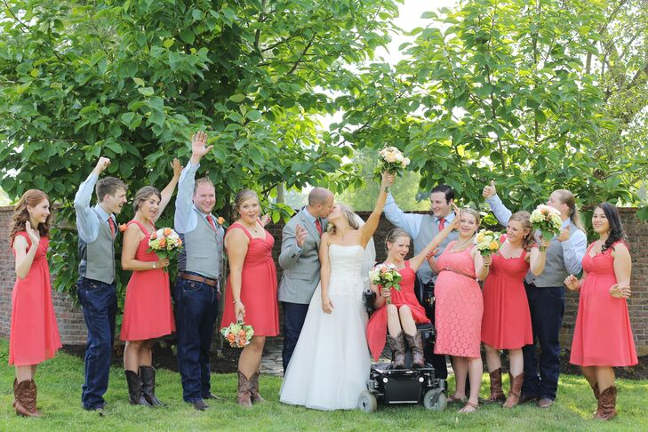 """The bridesmaids wore short chiffon dresses by Bill Levkoff in the color persimmon. They chose their own cowboy boots as footwear, although according to the bride, """"many didn't last through the reception—barefoot is best!"""" The groomsmen wore wrangler jeans with blue dress shirts and persimmon ties to match."""